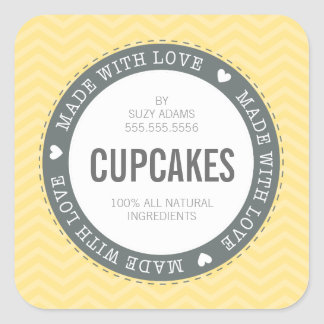 CUTE PRODUCT LABEL made with love chevron yellow