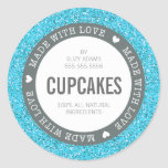 CUTE PRODUCT LABEL made with love glitter blue Round Stickers