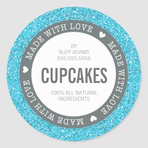 CUTE PRODUCT LABEL made with love glitter blue Classic Round Sticker