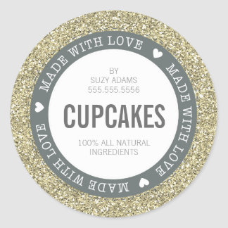 CUTE PRODUCT LABEL made with love glitter gold