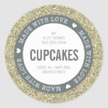 CUTE PRODUCT LABEL made with love glitter gold Classic Round Sticker