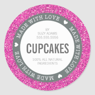 CUTE PRODUCT LABEL made with love glitter pink