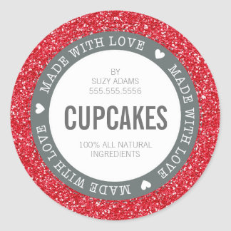 CUTE PRODUCT LABEL made with love glitter red Classic Round Sticker