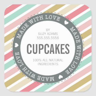 CUTE PRODUCT LABEL made with love pastel colorful
