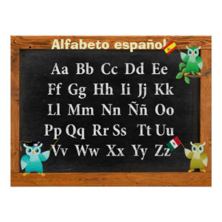 Cute Professor Owl Buho Alfabeto español Poster