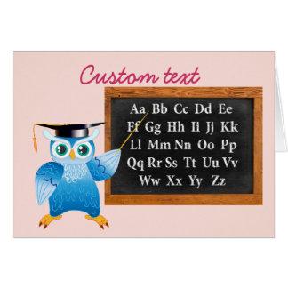 Cute professor owl English alphabet Greeting Card