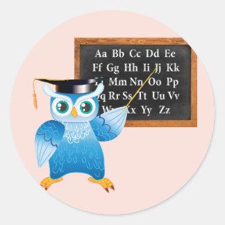 Cute professor owl English alphabet Classic Round Sticker