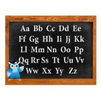 Cute professor owl English alphabet Postcard