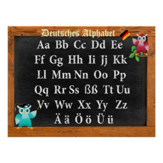 Cute Professor Owl German Deutsches Alphabet Poster