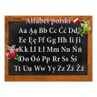 Cute Professor Owl Polish Alphabet Alfabet polski Print