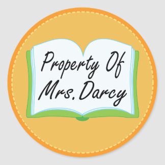 Cute Property Of Mrs. Darcy Book Plate Stickers