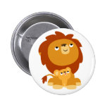 Cute Protective Dad Lion and Cub Button Badge