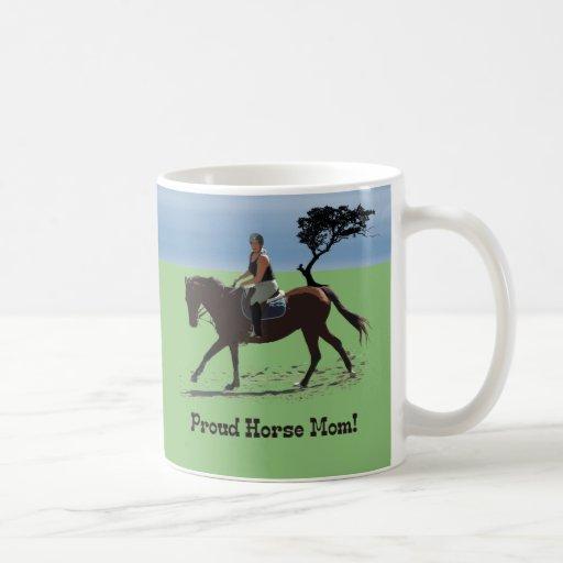 Cute Proud Horse Mom Equestrian Coffee Mugs