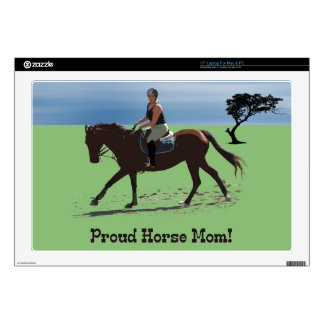 "Cute Proud Horse Mom Equestrian Decal For 17"" Laptop"
