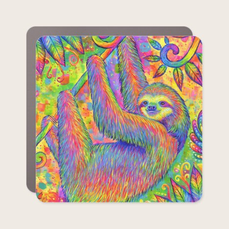 Cute Psychedelic Rainbow Sloth Car Magnet