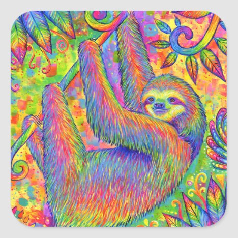 Cute Psychedelic Rainbow Sloth Stickers