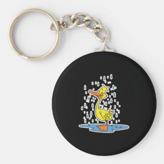 cute puddle duck in the rain basic round button keychain