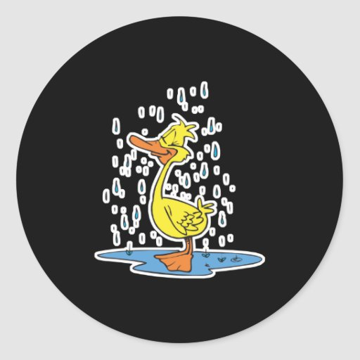 cute puddle duck in the rain classic round sticker