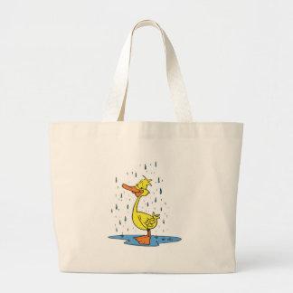 cute puddle duck in the rain jumbo tote bag