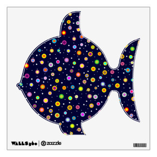Cute Pudgy Fish with Colorful Dots Pattern Wall Sticker