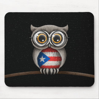 Cute Puerto Rican Flag Owl Wearing Glasses Mouse Pad
