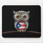 Cute Puerto Rican Flag Owl Wearing Glasses Mousepads