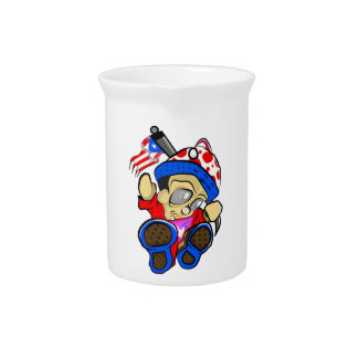 Cute Puerto Rico Character w/ Flag Beverage Pitcher