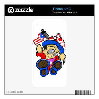 Cute Puerto Rico Character w/ Flag Decal For The iPhone 4