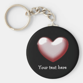 Cute Puffed Heart Pink Valentines Heart Keychain