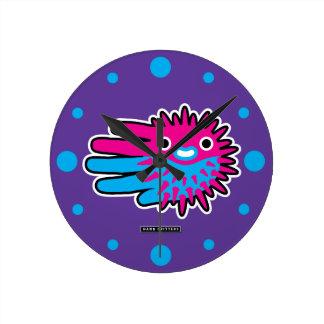 Cute Puffer Fish Round Clock