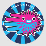 Hand shaped Cute Puffer Fish Smile Classic Round Sticker