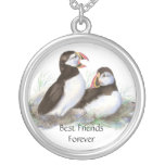 Cute Puffins, Best Friends Forever, BFF, Birds Round Pendant Necklace