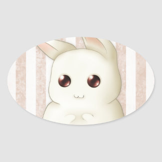 Cute Puffy Kawaii Bunny Rabbit Oval Sticker