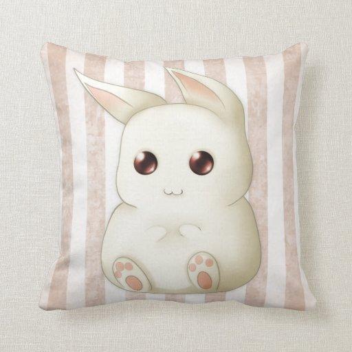 Cute Bunny Pillow : Cute Puffy Kawaii Bunny Rabbit Throw Pillows Zazzle