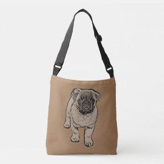 Cute Pug All-Over-Print Cross Body Bag - Brown