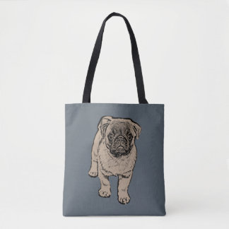 Cute Pug All-Over-Print Tote Bag - Gray