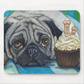Cute Pug and Bone Cookies Cupcake Mouse Pad