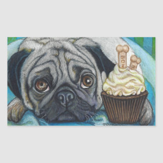 Cute Pug and Bone Cookies Cupcake Rectangular Sticker