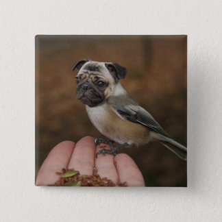 Cute Pug Bird Button