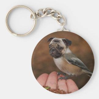 Cute Pug Bird Round Keychain