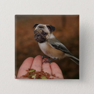 Cute Pug Bird Square Button