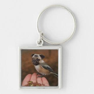 Cute Pug Bird Square Keychain