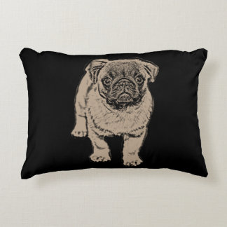 """Cute Pug Brushed Accent Pillow 16"""" x 12"""" -Black"""