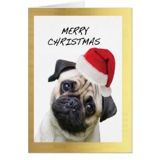 """Cute Pug"" design Christmas cards"