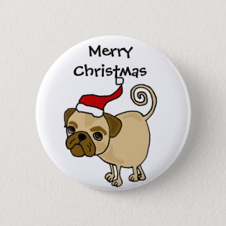 Cute Pug Dog in Santa Hat Christmas Art Button