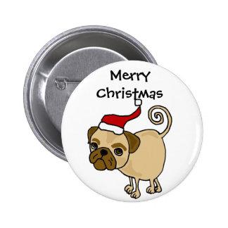 Cute Pug Dog in Santa Hat Christmas Art Pinback Buttons