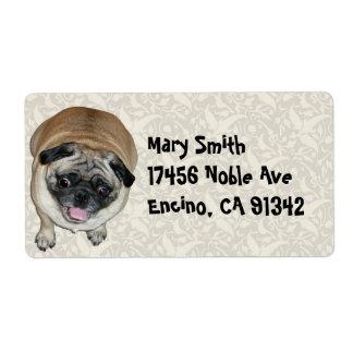 Cute Pug Dog Label