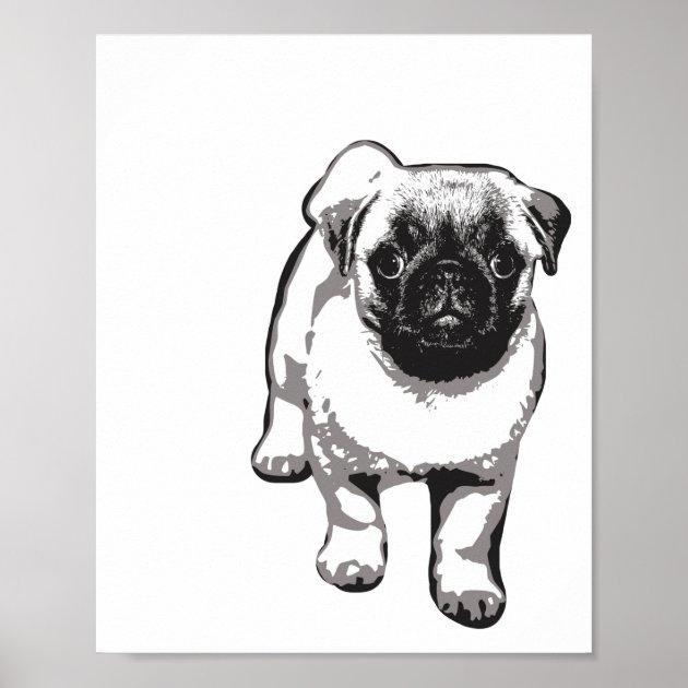 CUTE BLACK PUG DOG POSTER