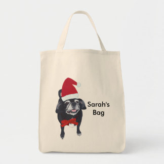 Cute Pug Dog Personalized Christmas Tote Bags
