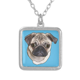 Cute Pug Dog Portrait Silver Plated Necklace